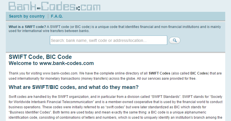 Swift Code (BIC)  - BOFAUS3N XXX - BANK OF AMERICA, N.A.